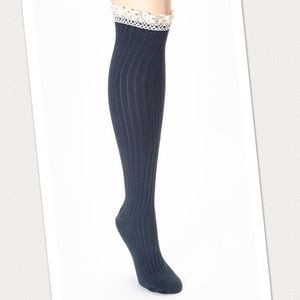 PEONY & MOSS Blue Ribbed Knee High Socks